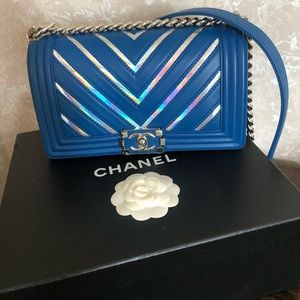 Chanel Medium Le Boy Chevron Iridescent Bag.